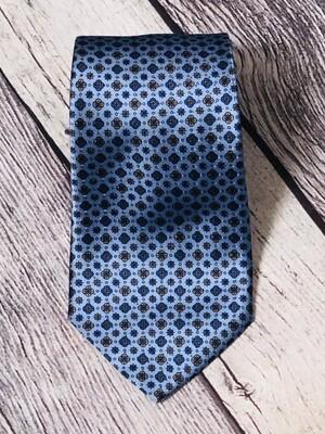 Designer Mens BRIONI Light Blue Patterned Silk Neck Tie