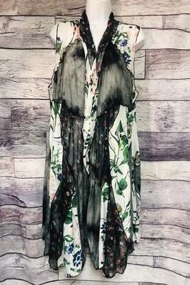 FLEUR di LIS Patchwork Floral Duster Vest size Large