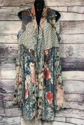DOR DOR Couture Patchwork & Lace Duster Vest size