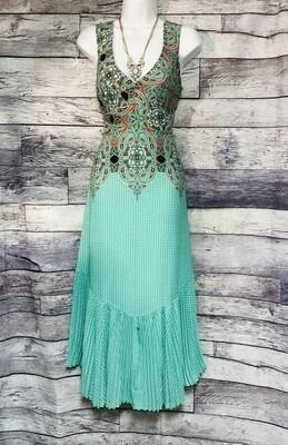 Anthropologie MAEVE Aqua Paisley Pleated Dress size 2