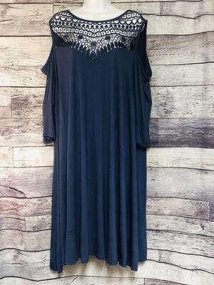 LANE BRYANT Cobalt Blue Lace Cut-Out Shoulder Rayon Dress size 22/24
