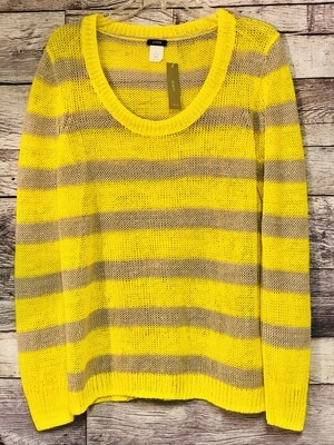 New J CREW Yellow & Taupe Linen Sweater size Large