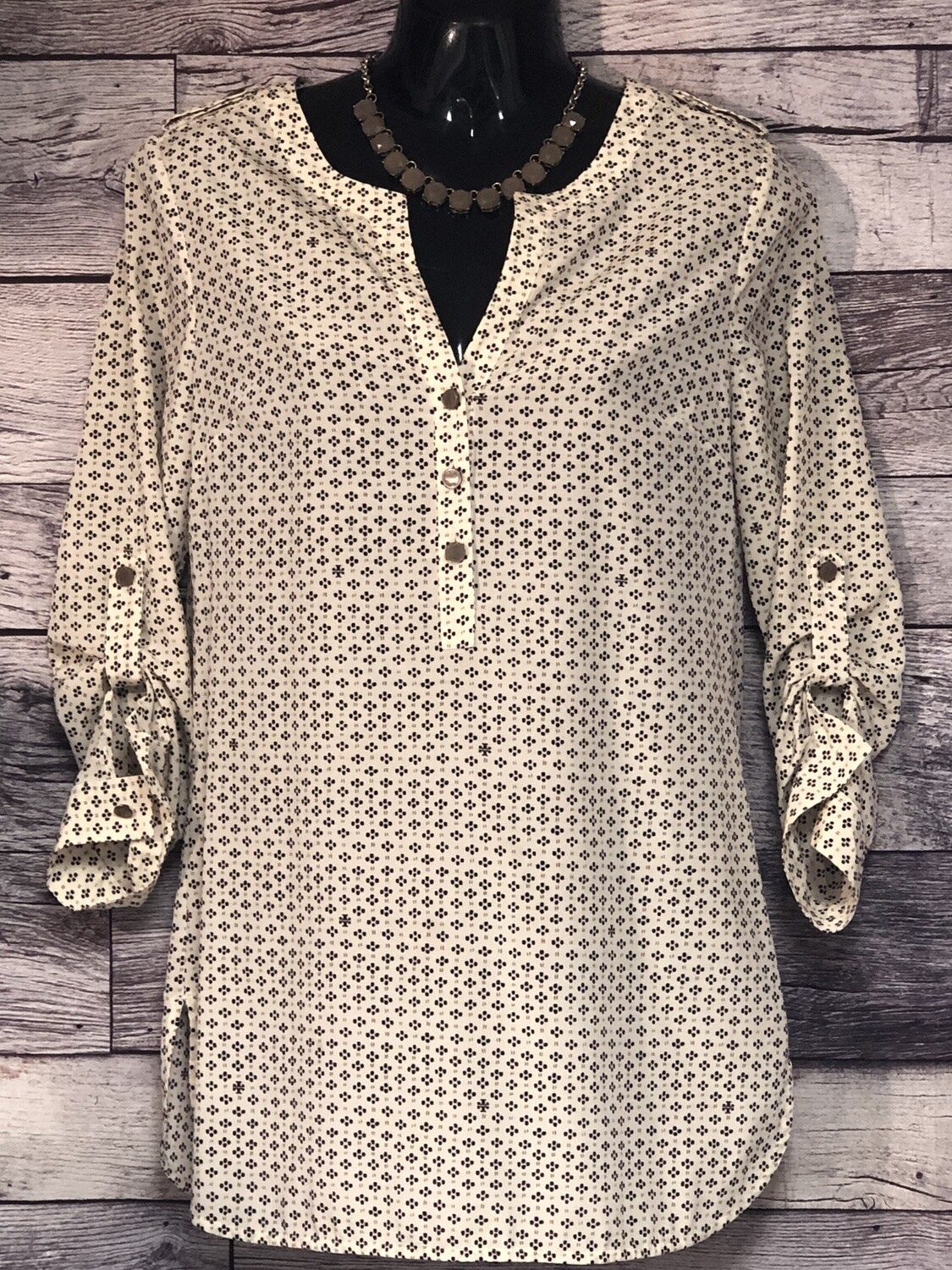 """TORY BURCH Silk Dotted """"T"""" Logo Pullover Tunic Blouse size 2"""