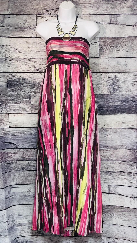 NWT CALVIN KLEIN Hibscus Multi Stripe Strapless Dress w/ Pockets sz XL $119