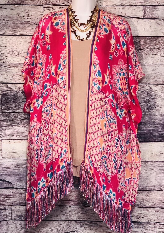 CHICOS Hot Pink Linen & Rayon Multi Print Kaftan Style Fringe Jacket Shawl S/M