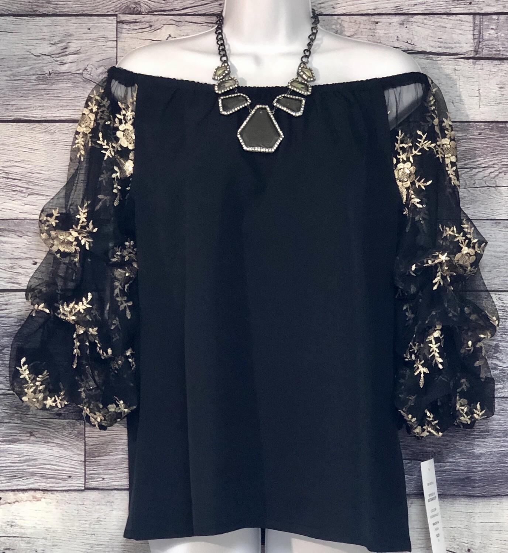 New MSK Black & Sheer Embroidered Sleeve Off-The-Shoulder Blouse size Medium