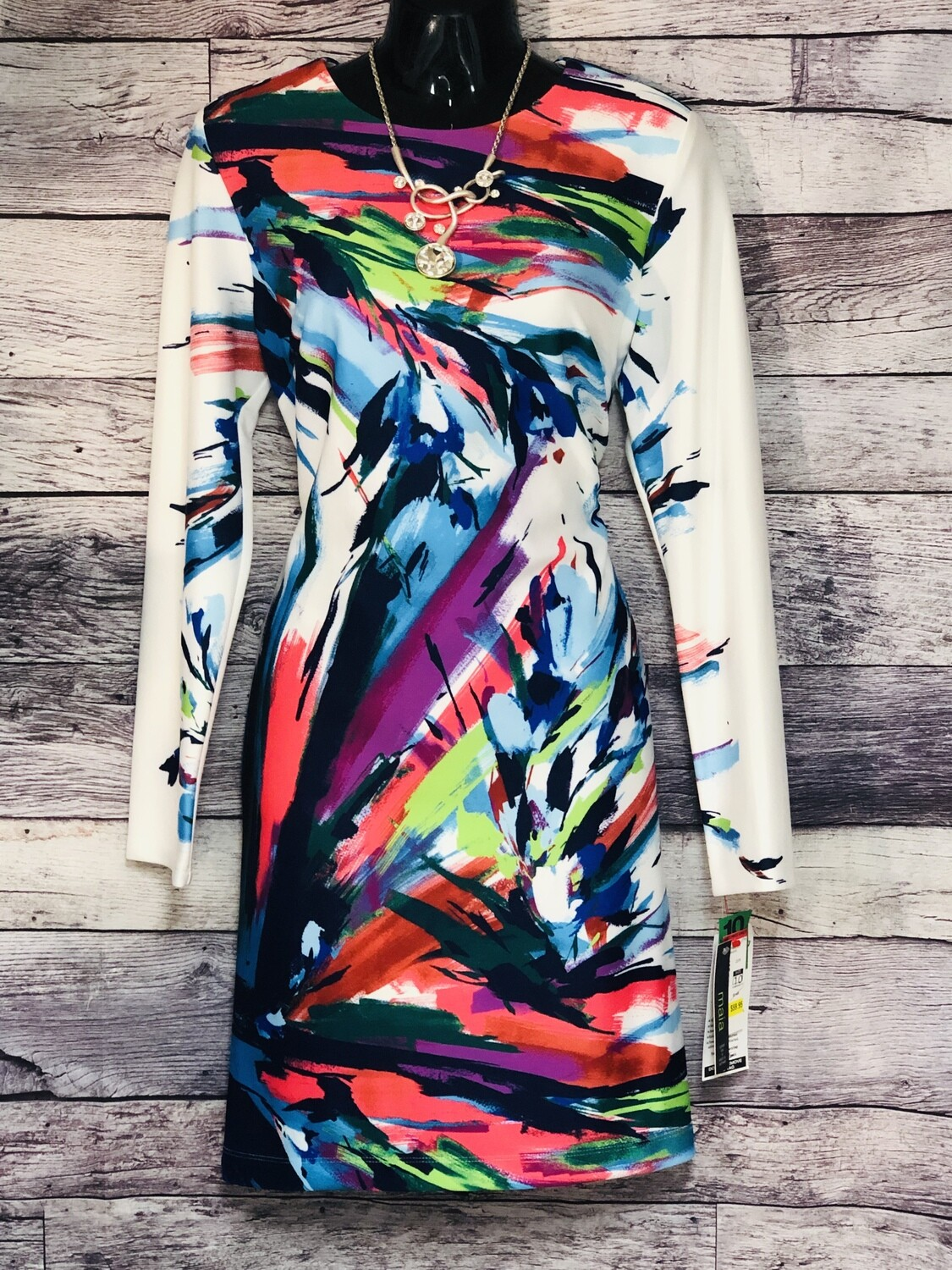 New MAIA Abstract Paint Stripe Dress size 10 $148