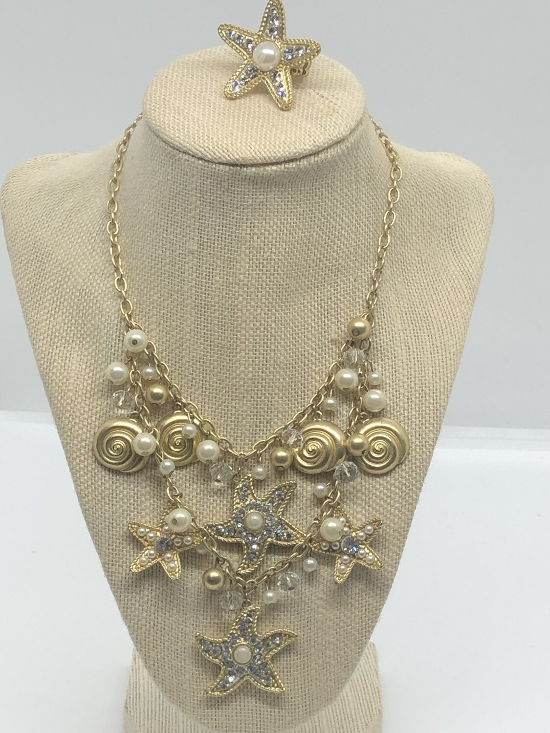 2pc Under The Sea Rhinestone & Pearl Brushed Gold Statement Necklace and Ring