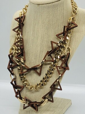 Wooden Geometric  & Gold Link 3-Strand Statement Necklace