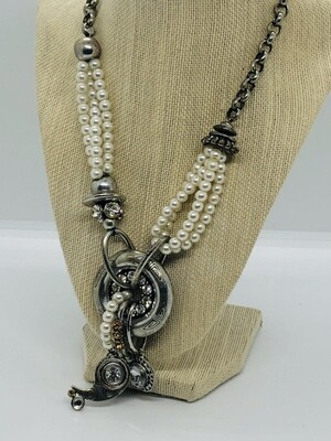 Pearl Silver and Rhinestone Abstract Statement Necklace