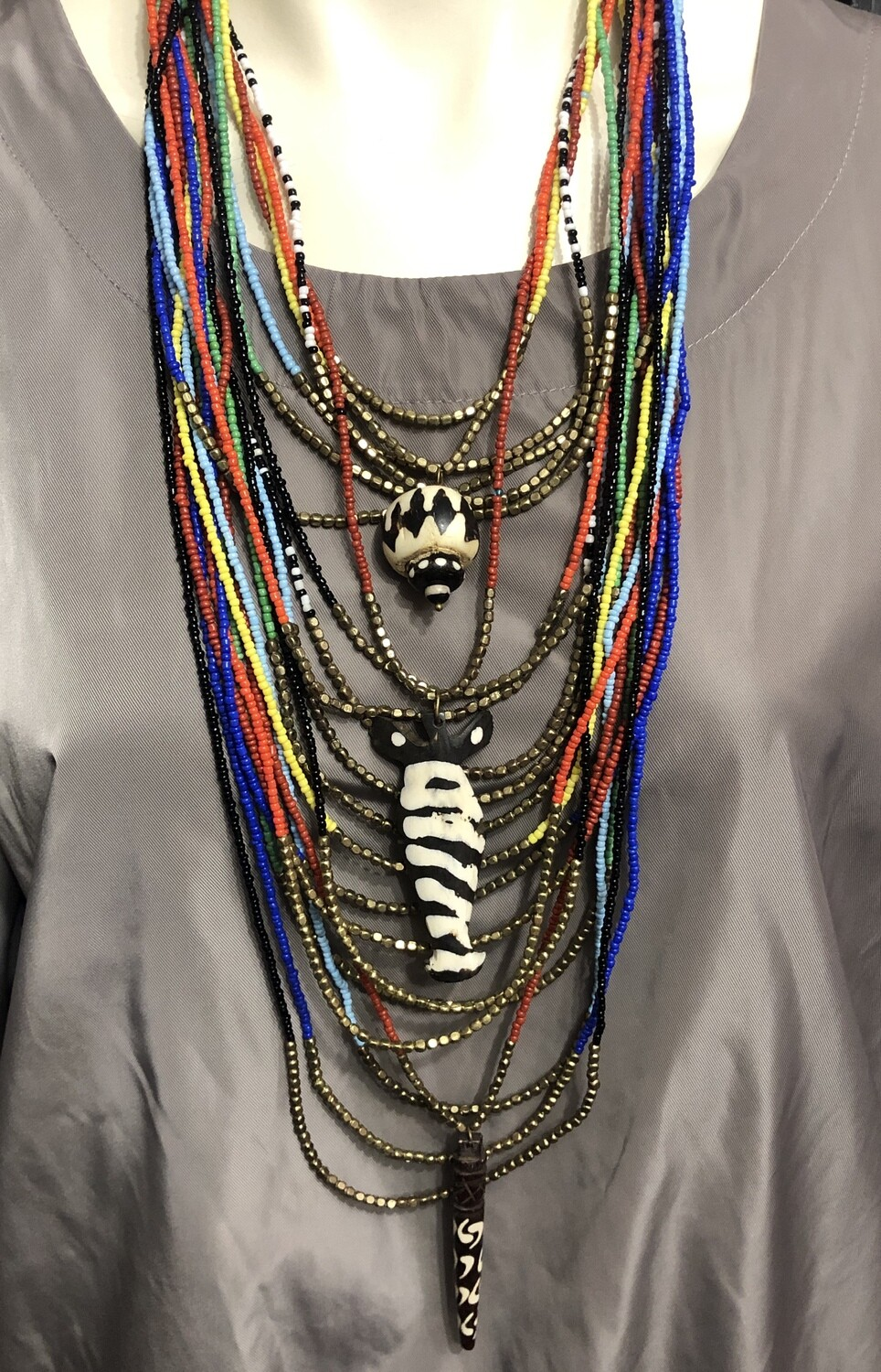 Ethnic Tribal Multi Strand Long Beaded Necklace