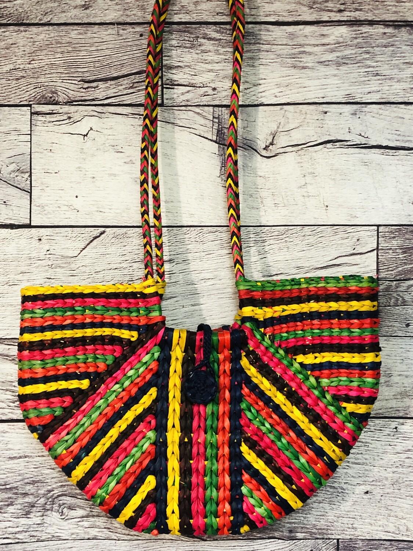 Hand Crafted Artisan Multi Color Ratan Straw Shoulder Bag