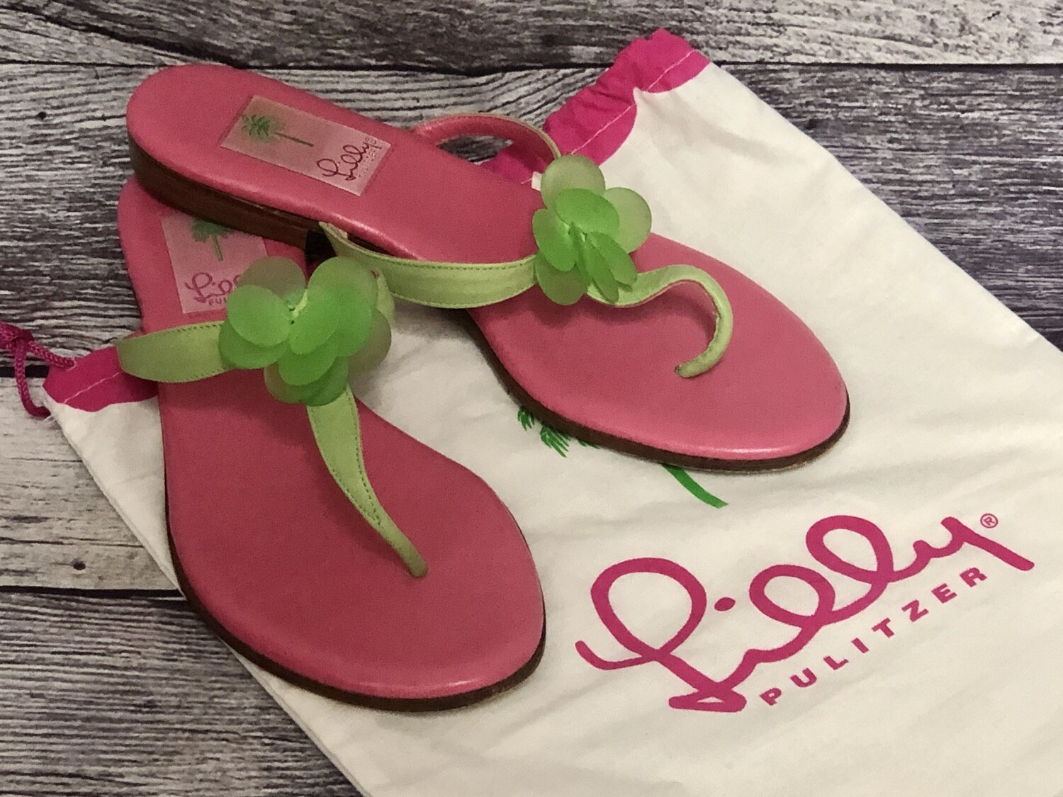 LILLY PULITZER  Pink & Green Leather Thong Sandals size 6 1/2