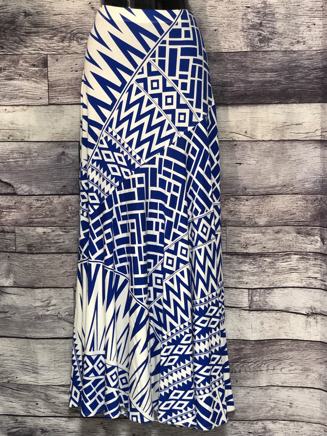 CHICOS Royal Blue & White Geometric Print Maxi Skirt size 0 (Small)