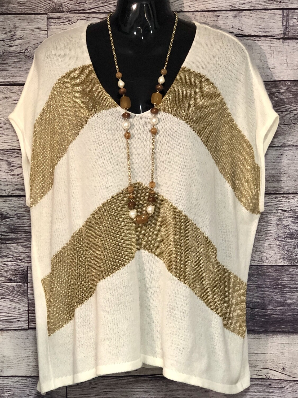 CHICOS Off-White & Metallic Gold Poncho Style Knit Top sz.2 (US Medium)
