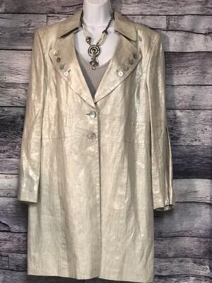 TESORI Champagne Metallic Linen Button Long Jacket size 16