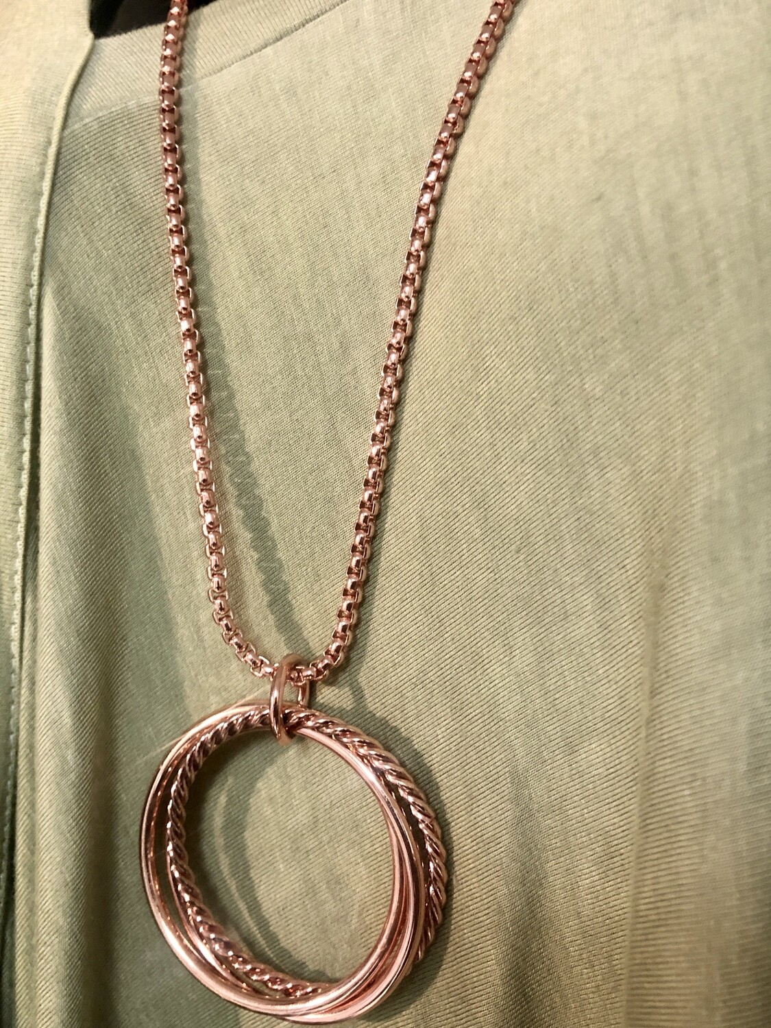 New ROSE GOLD Long Circle Accent Necklace