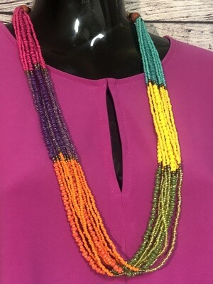 Multi Strand Colorful Beaded Statement Necklace