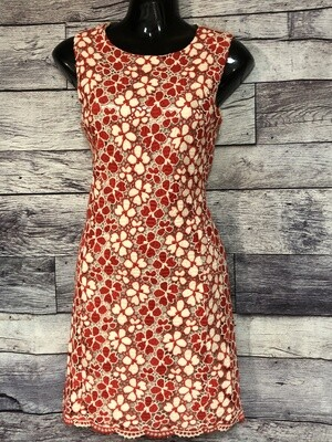 GRACIA Red & Cream Eyelet Lace Front Dress size Small