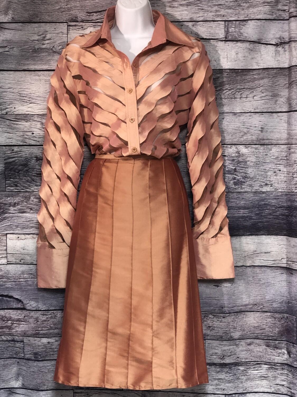EVA EVA Irridescent Peach Silk Blouse & Skirt Set sz Large