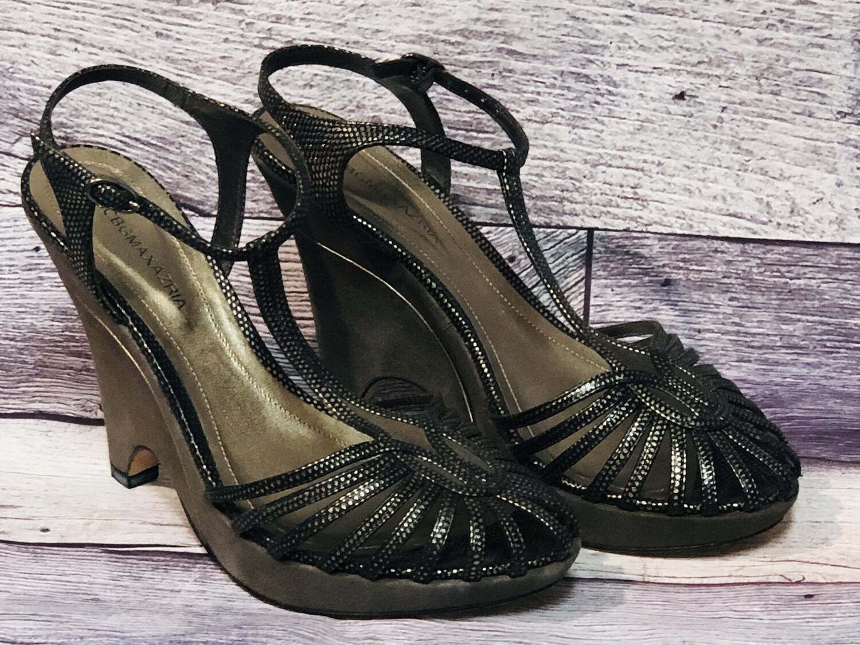 BCBG Max Azria Pewter Smokey Strappy Wedge Shoes size 7 1/2 $170