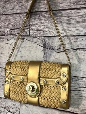 MICHAEL KORS Straw & Bronze Leather Shoulder Bag