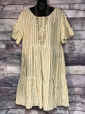 VELVET by Grahan & Spencer Stripe Ruffle Tunic Dress sz Large