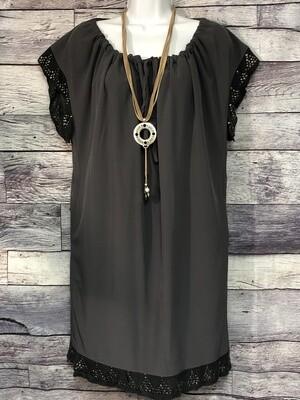 JANET PARIS Gray Pullover Tunic Dress with Knit Trim size Medium