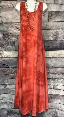 J JILL Melon Red Tie Dye Tank Maxi Dress sz Small