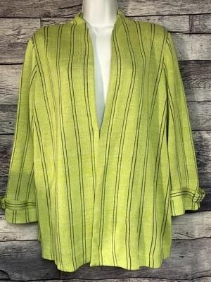 MISOOK Vibrant Lime Knit Pinstripe Jacket size XL
