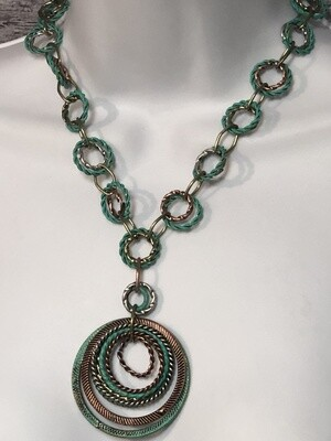 Aged Turquoise Tri-Color Ringlet Statement Necklace