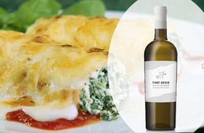 Cannelloni Ricotta and Spinach in Tomato & Cheese Sauce for 2 People with a Bottle of Pinot Grigio