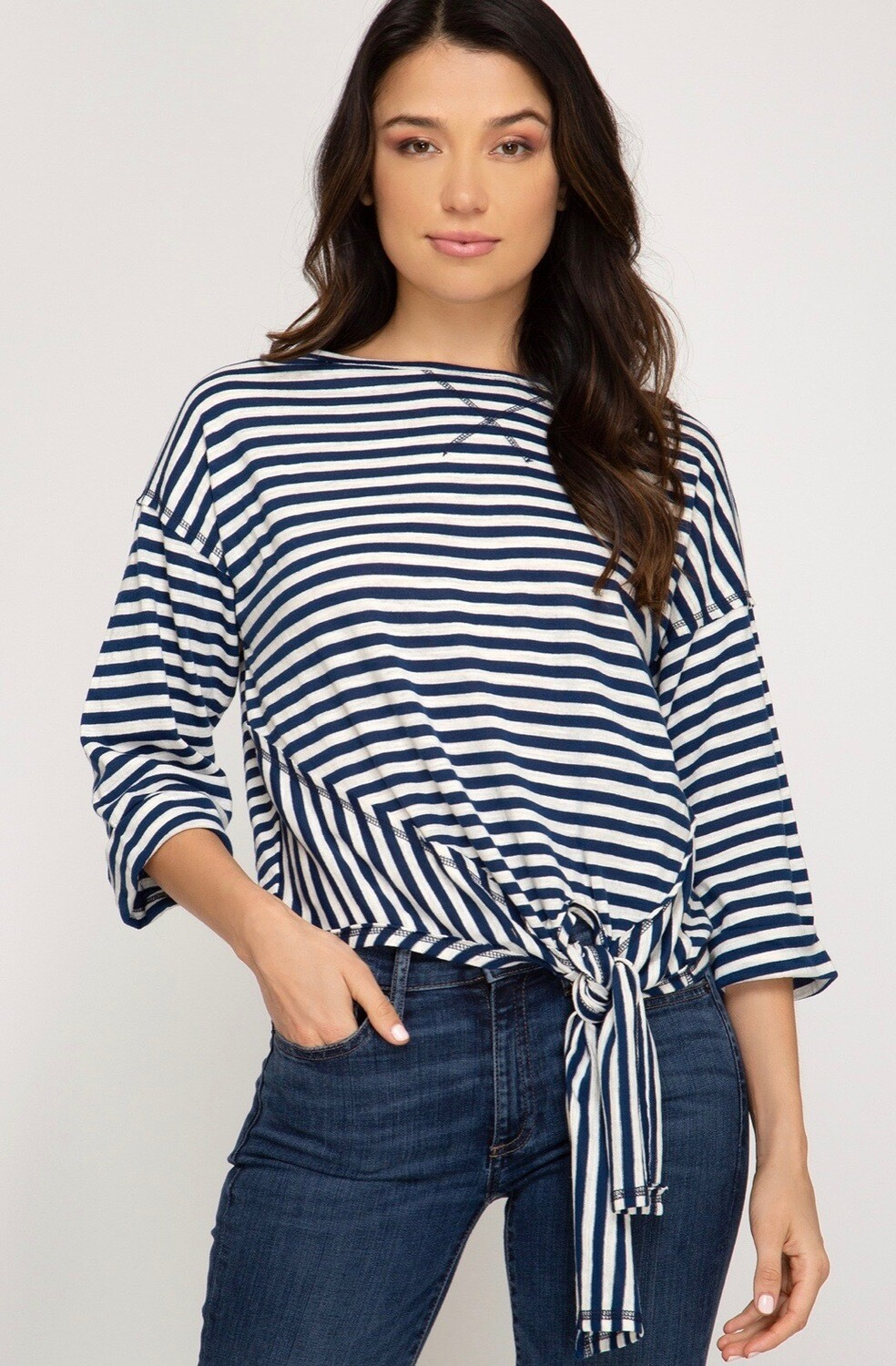 She & Sky Top Stripe
