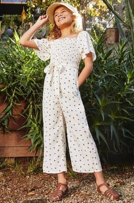 Hayden Print Jumpsuit Cream