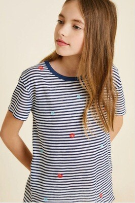 Hayden Striped Tee Navy
