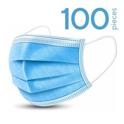 100 x disposable face masks