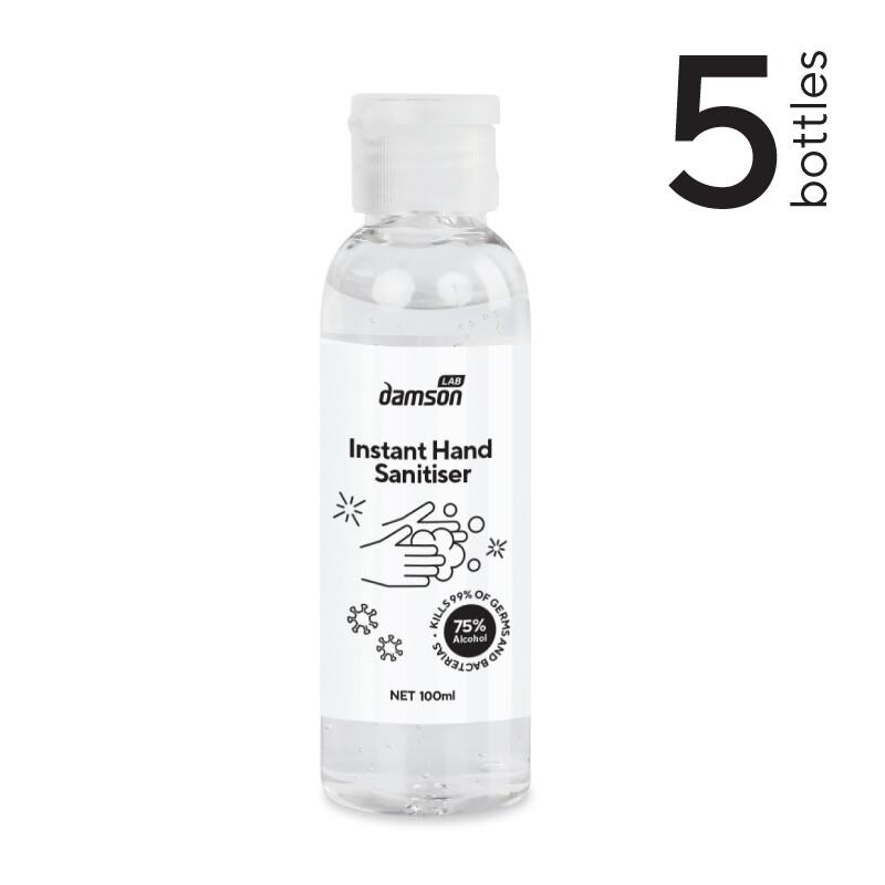 5 x 100ml Hand Sanitiser hand gel - Kills Coronavirus on contact