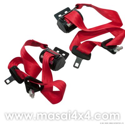 Front Seat Belt Set for Defender 90/ 110 Hard-top 2 door (Red) (Equivalent to BTR6562 & BTR6561)