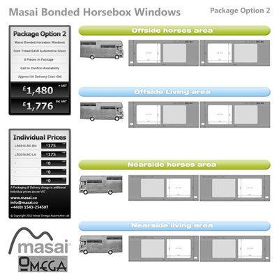 Option 2 Package - Tinted Bonded Horsebox Windows