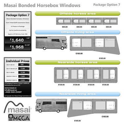 Option 7 Package - Tinted Bonded Horsebox Windows