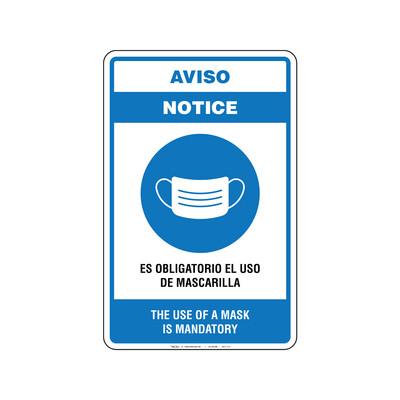 Aviso - USO DE MASCARILLA (BILINGÜE)