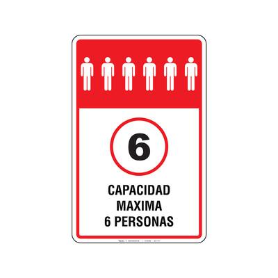 Rótulo Elevador - CAPACIDAD MAXIMA 6 PERSONAS