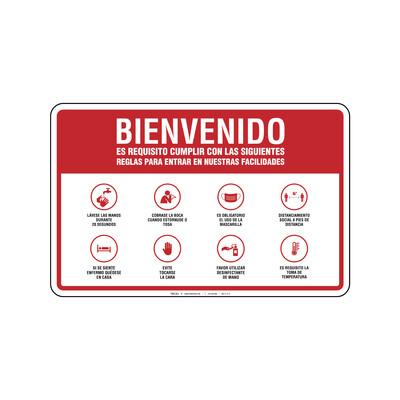 Rótulo - BIENVENIDOS (REGLAS PARA ENTRAR REQUISITO TOMA DE TEMPERATURA)