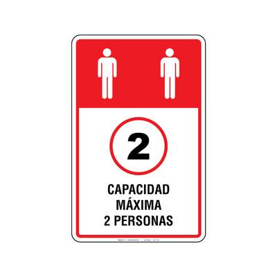 Rótulo Elevador - CAPACIDAD MAXIMA 2 PERSONA