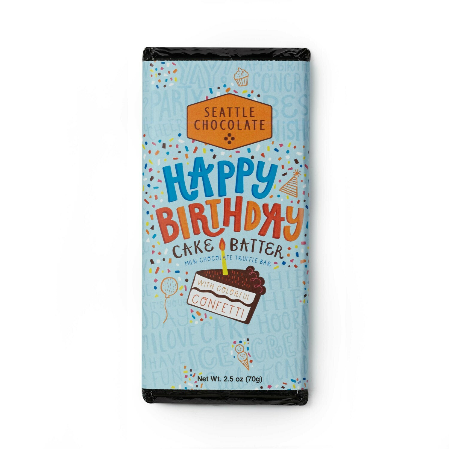 Seattle Chocolate Happy Birthday Milk Chocolate Truffle Bar