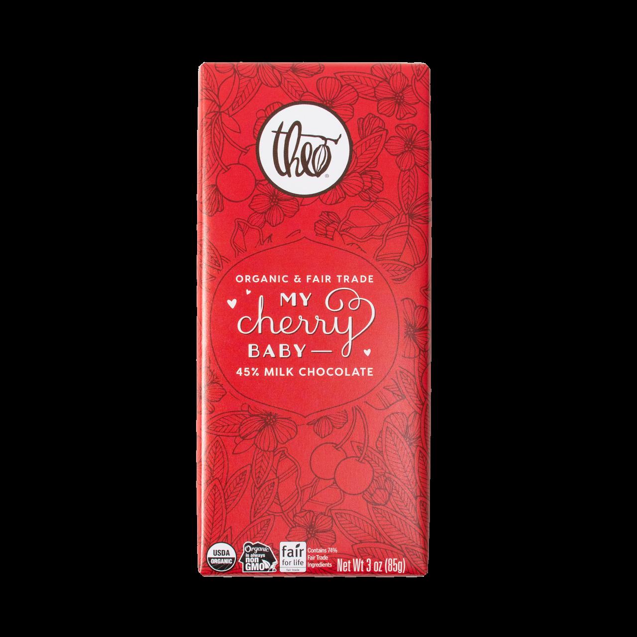 Theo My Cherry Baby 45% Milk Chocolate Bar