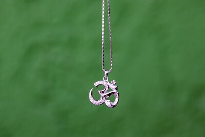 OM Necklace - Shiny Sterling Silver