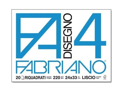 Fabriano  Blocco F/4 24x33 20 fogli - Riquadrato