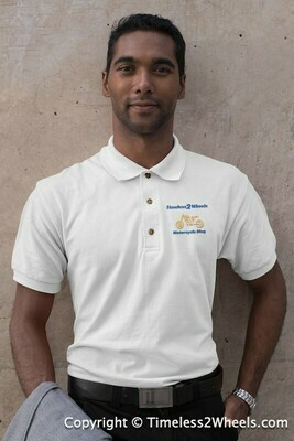 Embroidered Cafe Racer Polo Shirt