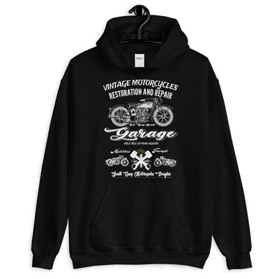 Vintage Isle of Man Motorcycle Workshop Hoodie